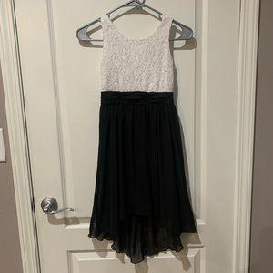 Girls Sz 8 Hi-low Sleeveless Dress Black & White